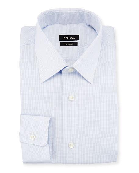 Z Zegna Micro Grid-Print Dynamic Dress Shirt