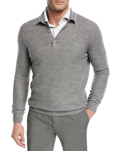 Lightweight Wool-Blend Polo Sweater
