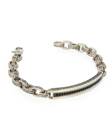Men's Classic Chain Sterling Silver Bracelet with Black Sapphire/Spinel