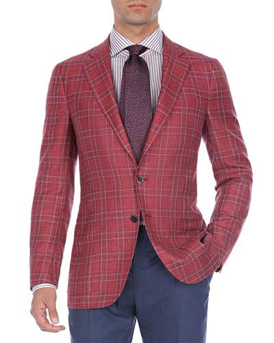 Plaid Wool-Cotton Two-Button Blazer