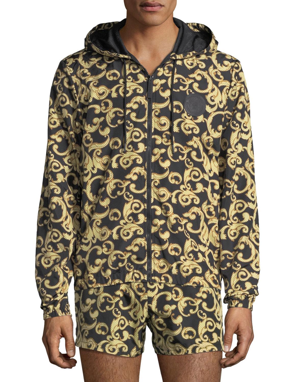 a3dc7a37fb2 Versace Barocco Net Zip-Front Jacket   Neiman Marcus