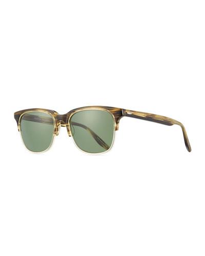 Men's Sergei Two-Tone Plastic Half-Rim Sunglasses