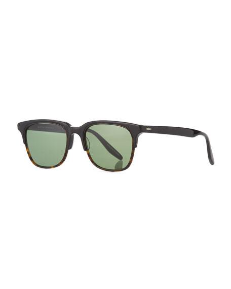 Barton Perreira Sergei Plastic Half-Rim Sunglasses, Black