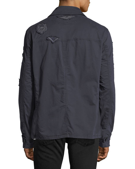 Patched Mid-Length Twill Jacket