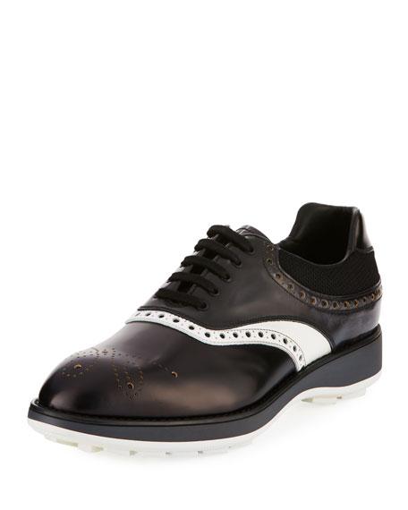 Prada Spazzolato Two-Tone Leather Platform Brogue Sneaker