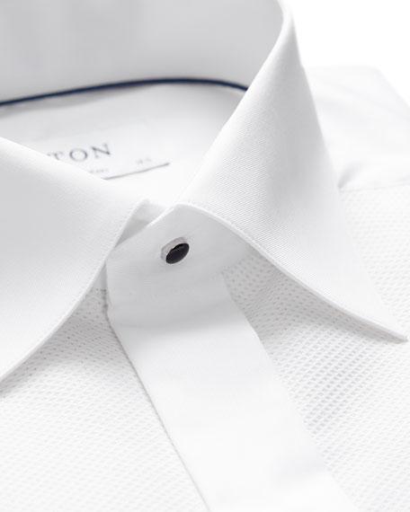 Contemporary-Fit Fancy Metallic-Stripe Formal Shirt, White