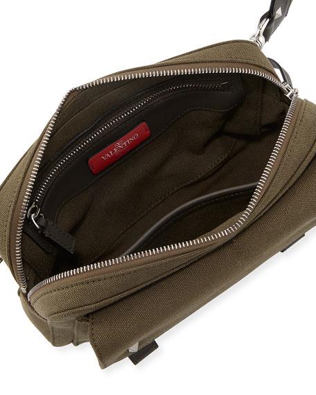 Studded Canvas Logo Crossbody Bag