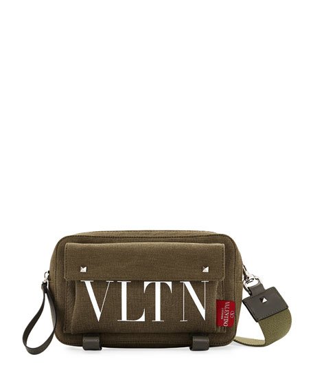 Studded Canvas Logo Crossbody Bag
