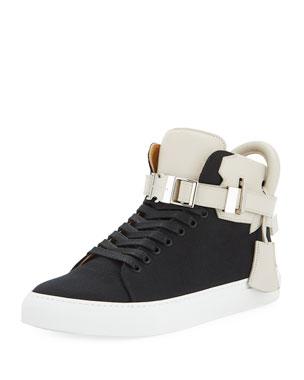 e2c9c56bc239 Buscemi Men's 100mm Clip Canvas Mid-Top Sneakers, Black/White