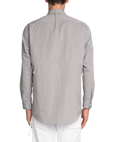 Off-White Striped Convertible Sport Shirt