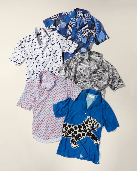 Hawaiian-Print Short-Sleeve Silk Sport Shirt