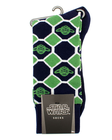 Cufflinks Inc. Star Wars Yoda Check Socks