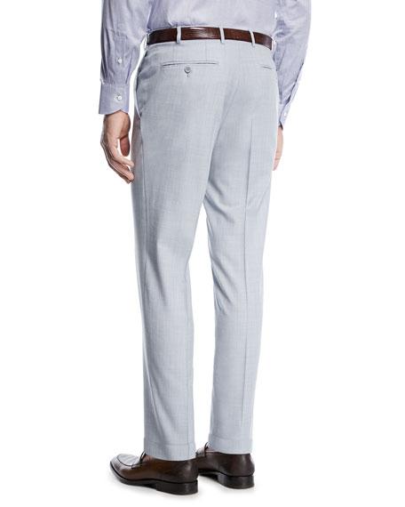Melange Wool Flat-Front Pants