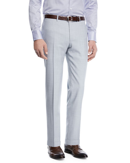 Canali Melange Wool Flat-Front Pants