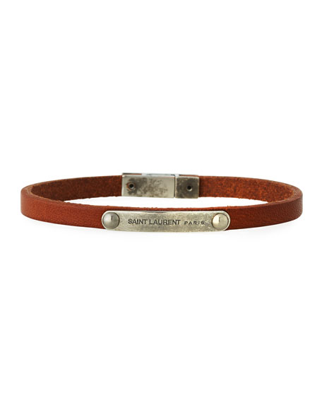 Men's Magnet-Clasp Leather Bracelet, Dark Brown