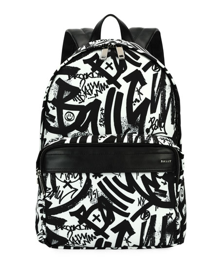Bally Wolfson Graffiti Nylon Backpack