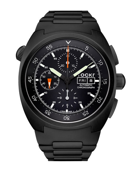 TOCKR WATCHES Air Defender Chronograph Stainless Steel Watch, Black