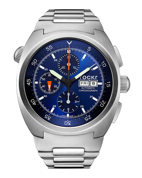 TOCKR WATCHES Air Defender Chronograph Stainless Steel Watch, Blue
