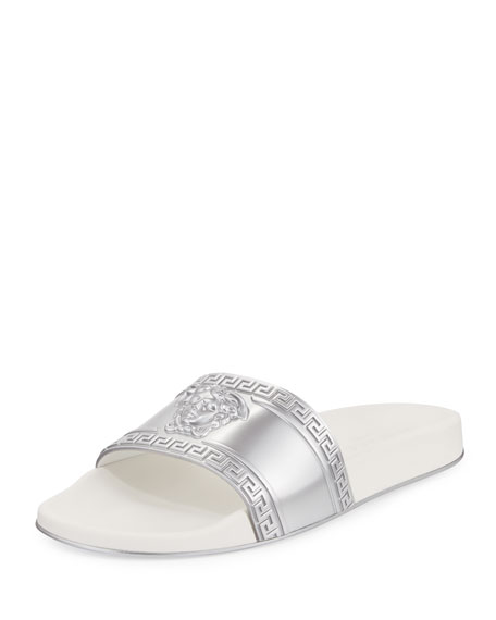 Versace Men's Medusa-Head Slide Sandal, Silver