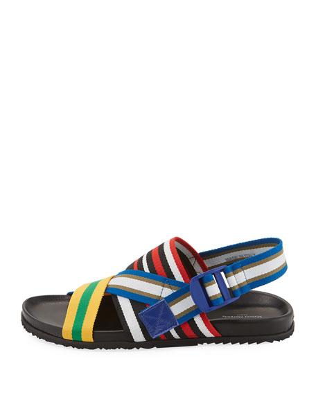 Striped Web-Strap Sandal