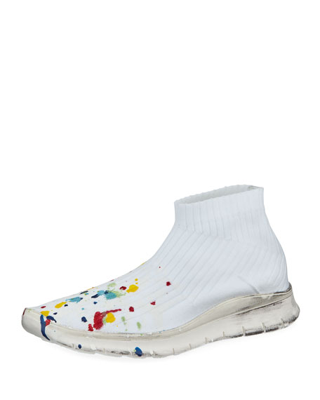 Maison Margiela Men's Paint-Splatter Sock Sneaker