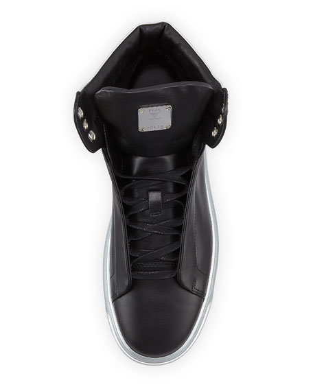 Men's Visetos-Trim Leather High-Top Sneakers