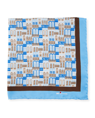 City Windows Silk Pocket Square