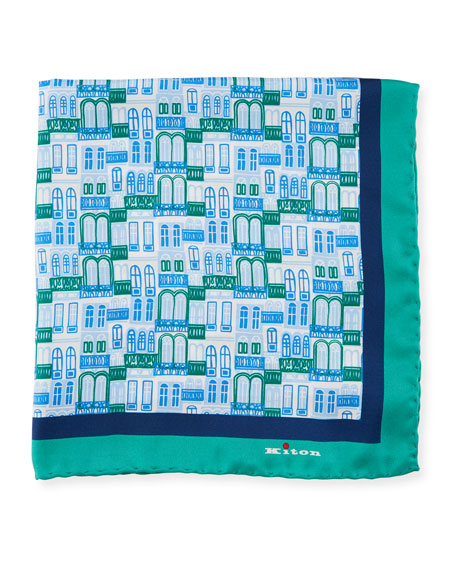 Kiton City Windows Silk Pocket Square, Green