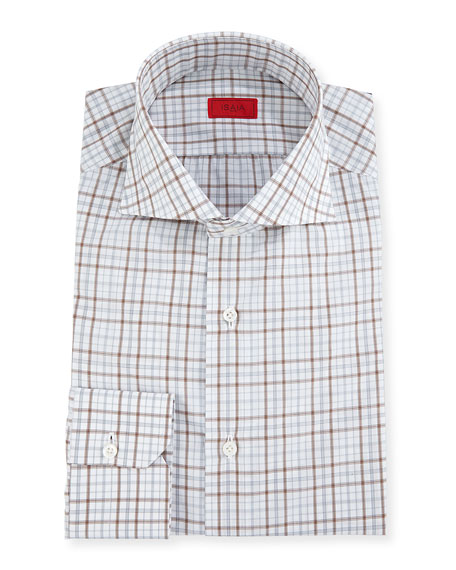 Isaia Check Cotton Dress Shirt