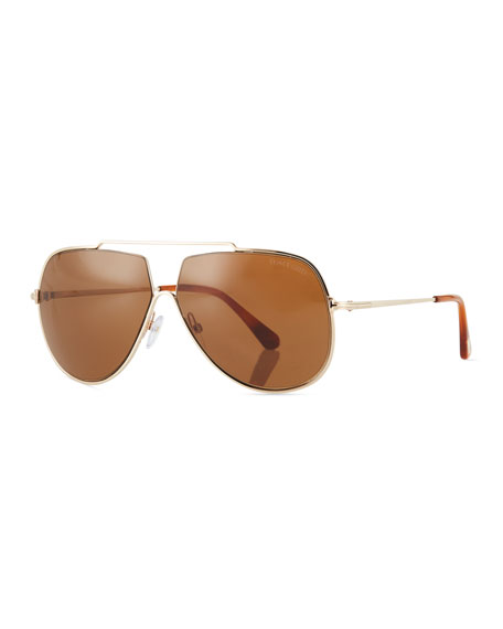 TOM FORD Chase Double-Bar Aviator Sunglasses