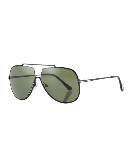 TOM FORD Chase Double-Bar Aviator Sunglasses, Green