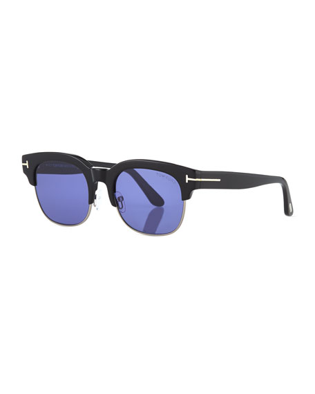 TOM FORD Harry Acetate/Metal Half-Rim Sunglasses