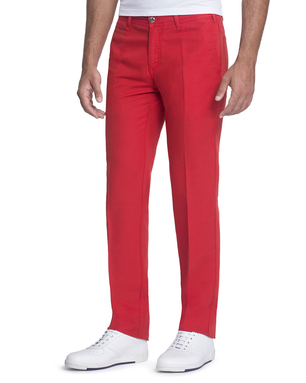 Stefano Ricci Red Linen-Blend Pants with Suede Details