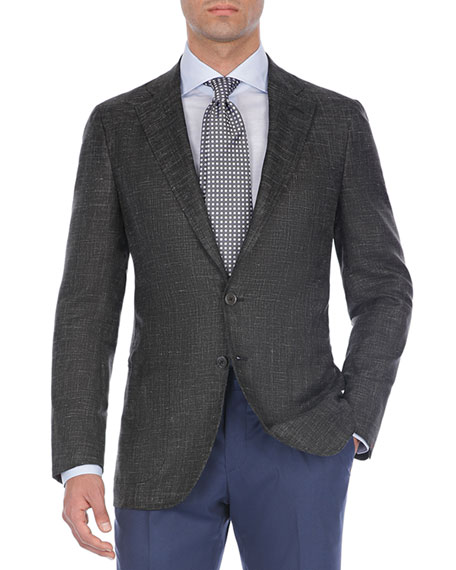 Textured Tri-Blend Two-Button Blazer