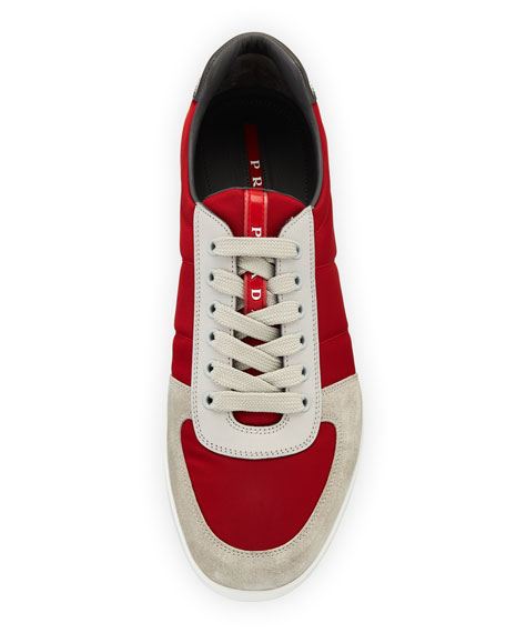 Men's Nylon & Suede Low-Top Sneakers