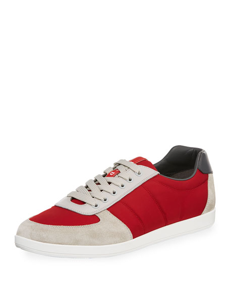 Prada Men's Nylon & Suede Low-Top Sneaker