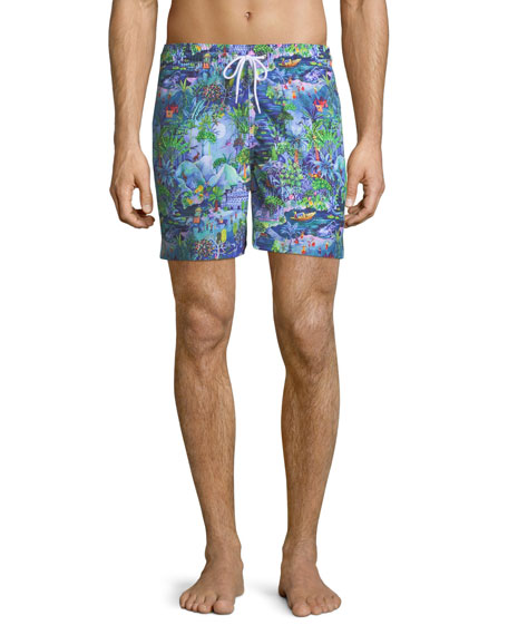 Maui Print Classic-Fit Swim Trunks