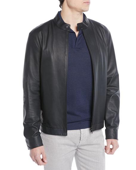Lightweight Leather Bomber Jacket