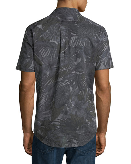 Michael Kors Palm-Print Slim Short-Sleeve Sport Shirt
