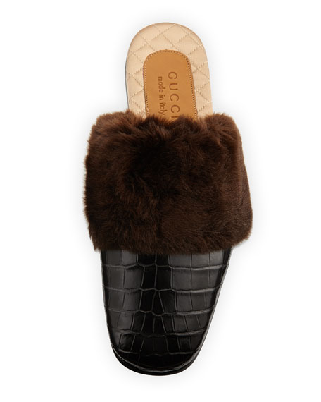 Crocodile and Synthetic Fur Slipper