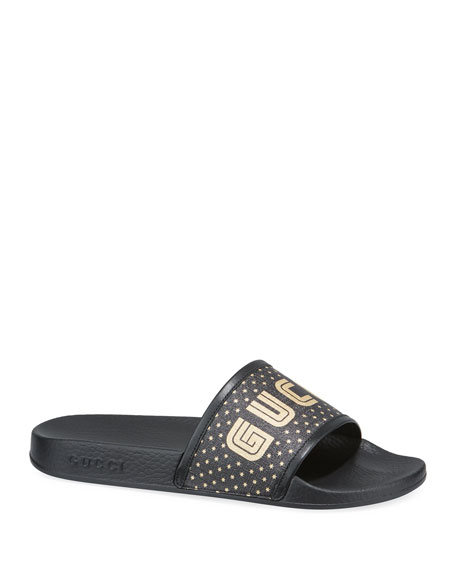 Pursuit Guccy Block Logo Slide Sandals