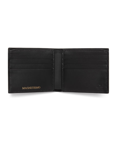 GUCCY Logo Bi-Fold Leather Wallet, Black/Gold