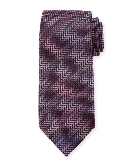 Image 1 of 1: Zigzag Herringbone Silk Tie