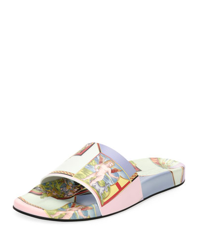 Angels Print Pool Slide Sandal