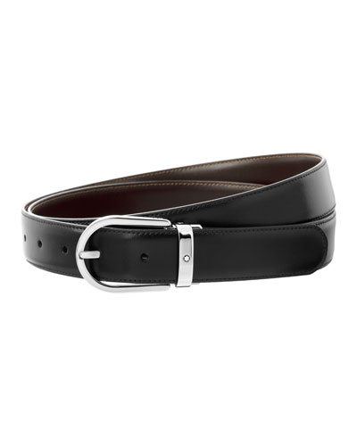 Horseshoe-Buckle Reversible Leather Belt