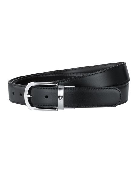 Montblanc Horseshoe-Buckle Leather Belt