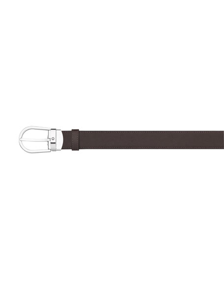 Montblanc Horseshoe-Buckle Reversible Leather Belt