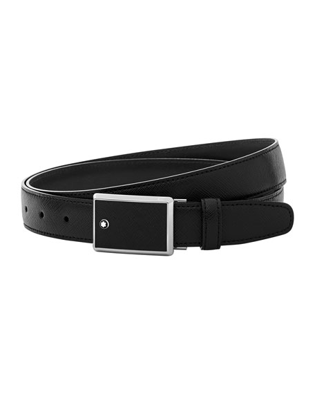 Square-Buckle Leather Belt