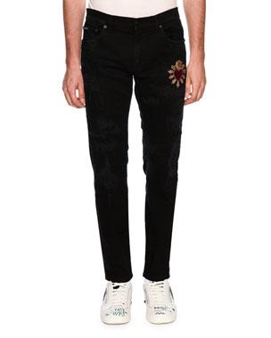 18d26a5096 Dolce   Gabbana Patched Slim-Fit Denim Jeans