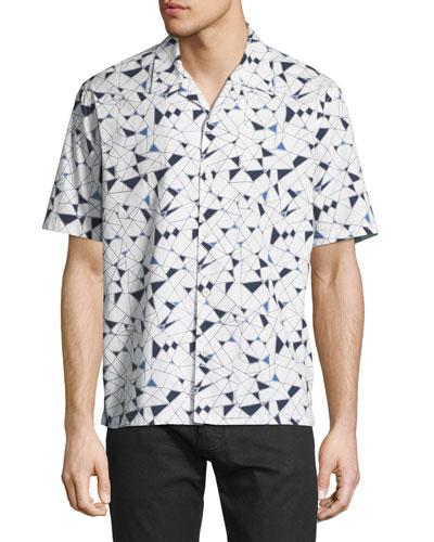 Daze Geometric-Print Short-Sleeve Sport Shirt